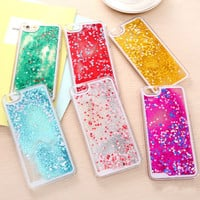 Transparent Liquid Quicksand Bling Glitter Star Case For iphone 6 /6 plus Hard Back Cover