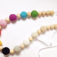 Crochet teething necklace, Colorful crochet nursing necklace