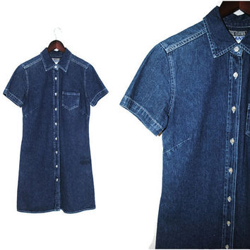 dark denim mini dress 80s 90s minimalist button up jean dress size medium