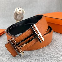 Hermes men and women smooth letter buckle trend youth jeans belt
