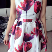 White Sleeveless Mini Dress with Pink Floral Print