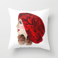 RED RIDING HOOD  Throw Pillow by Lauren Lee Designs