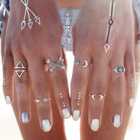 6PCS Vintage Turkish Beach Punk Moon Arrow Ring Set Ethnic Carved Silver Plated Boho Midi Finger Ring Knuckle Charm Ring ND1224