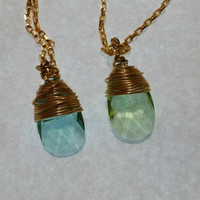 Beautiful Green or Blue Wire Wrapped Swarovski Crystal Pendant Necklace Gold