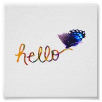 square poster hello text art with butterfly