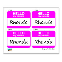 Rhonda Hello My Name Is - Sheet of 4 Stickers
