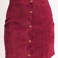 All About It Scalloped Skirt (Wine)