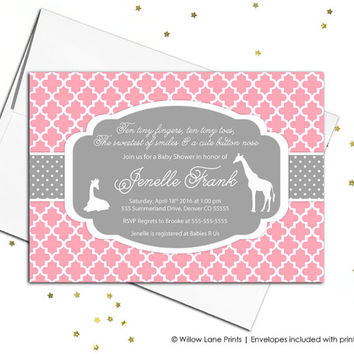 pink gray baby shower invitation - baby girl baby shower invite - pink baby girl shower invite giraffe - printable or printed - WLP00724