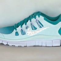 Nike Free Run 5.0 shoes Mint Green/Turquoise/Summit White with Swarovski crystals