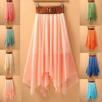 Long Skirt with Asymmetrical Hem (One Size) (Color Pink) = 5737775873