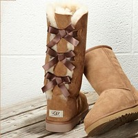 UGG 2020 fashion new women's three bow high-top wool snow boots non-slip warm shoes snow shoes