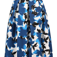 Blue Floral High Waist Pleated Skirt