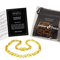 Baltic Amber Teething Necklace for Babies (Unisex) by AmberTouch - Anti Flammatory, Drooling & Teething Pain Reduce Properties - Certificated Natural Baltic Amber with the Highest Quality.