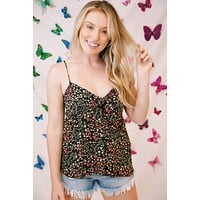 Shed A Little Light In Floral Top, Black/Peach