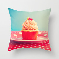 SALE, Pillow cover, food pillow, red pillow, cupcake pillow, turquoise pillow, mint pillow, couch pillow, pink pillow, vintage pillow