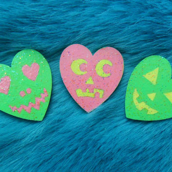 Glitter Cute Creepy Pumpkin Halloween Heart Pin Badges