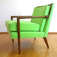 Mid Century Lime Green Arm Chair,  1950's Wooden Arm Chair,  Lime Green Chair, Designer Chair, Home Decor For Apartment,  Mad Men Furniture