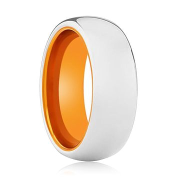 AUTUMNAL Tungsten Silver Shiny and Orange Inside Aluminum Ring