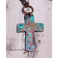 Pewter Artisan Rustic Cross Necklace