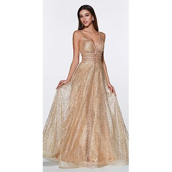 Gold Long A-line Prom Dress V-Neck and Back