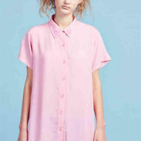 Back Heart-Shaped Hollow Single-Breasted Short-Sleeved Shirt