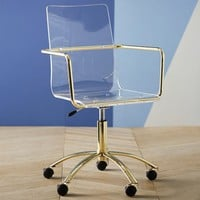 Gold Paige Acrylic Swivel Chair