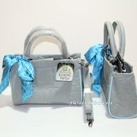 Licensed cool Loungefly Disney Alice Through The Looking Glass Grey Embossed Barrel Bag Purse