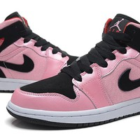 Air Jordan 1 Retro I Black/Pink Basketball Shoes