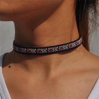 SHUANGR leather boho choker necklace fashion multicolor Bohemia chokers necklace for women jewelry party