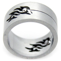 Cut Out Tribal Design Comfirt Fit Stainless Steel Ring -Size