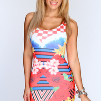 Red Multi Printed Bodycon Sexy Party Dress