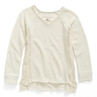 O'Neill 'Mya' Crochet Inset French Terry Sweatshirt (Little Girls & Big Girls) | Nordstrom