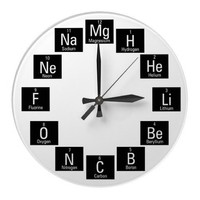 Chemical Elements Fun Nerdy Round Clock from Zazzle.com