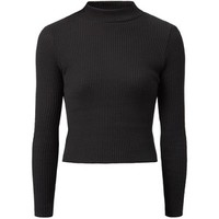 Black Ribbed High Neck Top