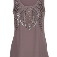 sequin and bead embellished chiffon tank