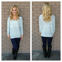 Grey Knit BeJeweled Sweater
