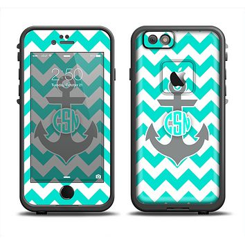 The Teal Green and Gray Monogram Anchor on Teal Chevron Apple iPhone 6 LifeProof Fre Case Skin Set