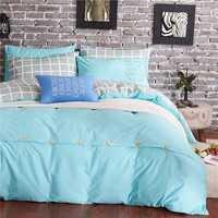 Cool Light Blue Cotton Bedding Set Twin Queen King Size Bed Linens 4pcs Letter Print Duvet Cover Sets XF73-6AT_93_12