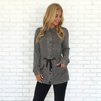 Pull It Together Knit Jacket In Charcoal