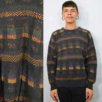 90s Grunge Sweater Medium Mens Geometric Open Knit Oversize Distressed Women Unisex Vintage Clothing 1990s Gray Funky holes Destroyed