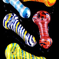 Small Striped Glass Pipe - P1453