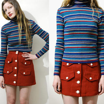 70s Vintage RAINBOW STRIPE Sweater WOOL Knit Turtleneck Jumper Tight Fitted Knitted Jumper Retro Striped Skivvy Retro Hippie 1970s vtg xs