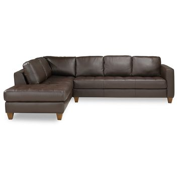 Milano Leather 2-Piece Chaise Sectional Sofa