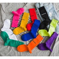 Balenciaga lady's stockings coloured velvet fashion socks