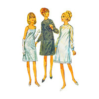 1960s Slip Dress Pattern Simplicity 6784 Lace Overdress Sheer Sleeves 34 Bust Size 14 Simplicity 6784