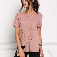 Mauve Distressed Pocket Tee Shirt