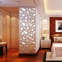 Mirror 3D 12pcs/set Silver Wall Sticker Decoration