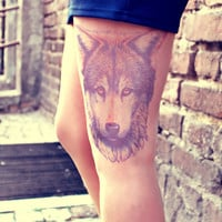 Wolf's head - Tattoo Tights - Free Shipping - Made to order :)