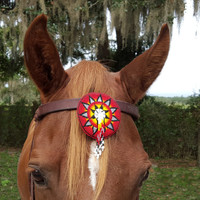 Hope Symbol Seed Beaded Equine Browband Ornament with Dangles in Red Black Yellow White -  Native American Style Horse Ornament