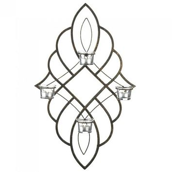 Iron Wall Sconce with Four Glass Candle Cups